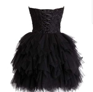 Tulle Strapless Evening/Cocktail Dress Black